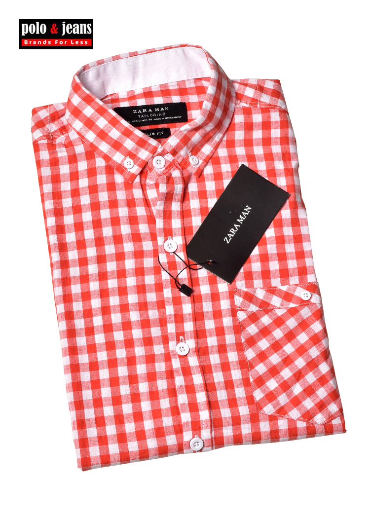 64d8c2f3 ZARA MAN ORANGE WHITE CHECK CASUAL SHIRT – Polo and Jeans
